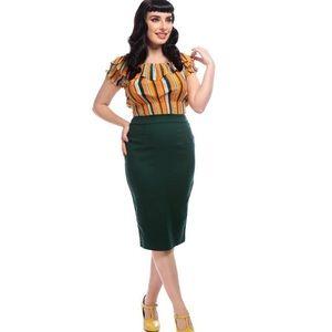 Collectif Plain Polly Pencil Skirt